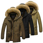 Mens Warm Down Cotton Jacket Fur Collar Thick Winter Coat Outwear Hooded Parka