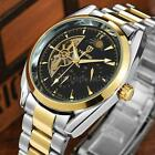 TEVISE Men Fashion Skeleton Auto Self-Winding Mechanical Moonphase Watch P5R1