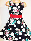 GIRLS 50s STYLE BLACK WHITE SPOT FLORAL PRINT FLARED SKATER OCCASION PARTY DRESS