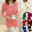 Autunm Women Knitted Pullover Mohair Furry O-neck Long Sleeve Loose Sweaters
