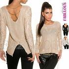New Sexy Women's Lace Gold Chain Jumper Sweater Knitted Top Size 10 12 14 M L XL