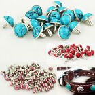 100pcs Red Turquoise Rivets Rapid Shoes Clothes 8mm Leather Craft Decorative DIY