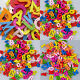 50/100/200x Colorful Letters Numbers Wooden Beads Flatback Embellishments Crafts