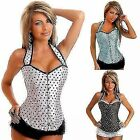 Polka Dot Halter Buckle Women Bustier Corset Basque Overbust Shaperwear G-string