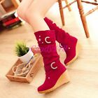 Ladies Mid Calf Boots Faux Suede Wedge Buckle Rivet High heels Dress Shoes Size