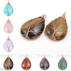 Fashion Copper Wire Wrapped Tree Of Life Drop Pendant Gemstone Charm Stone Bead