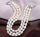 bangle New 3 Strand AAA 7-8mm Natural White freshwater Cultured Pearl Bracelet