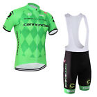 New Mens Half Sleeve Jersey Bib Shorts Outfits Bicycle Clothing Breathable Green