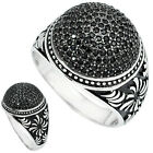 3.63cts NATURAL BLACK TOPAZ 925 STERLING SILVER MENS RING JEWELRY SIZE 8 A24166
