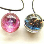 Glass Ball Art Necklace Pendant Galaxy Star Nebula Planet Sparkling Purple a
