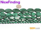 Natural Green Malachite Genuine Oval Stone Beads For Jewelry Making Gemstone 15""