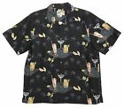 Men's Pau Hana 100% Silk Cocktails aloha Shirt BLACK  made in Hawaii
