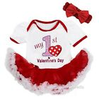 Baby 1st Valentine's Day White Red Bodysuit Tutu Party Dress Outfit