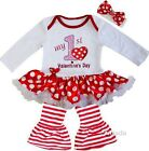 Baby 1st Valentine's Day Red Polka Dots Bodysuit Tutu Party Dress Outfit