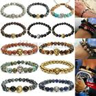 Fashion Natural Black Lava Rock Stone Beaded Bracelet Charm Lion/Buddha Bracelet