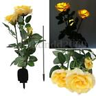 Outdoor Solar Panels Powered Rose Flower 3 LED Light Yard Garden Path Way Gifts