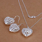 Jewelry Set Necklace  Silver Ladies Bracelet Earrings Heart  Fashion+925box