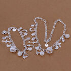 Jewelry Set Necklace  Silver Ladies Bracelet Earrings Heart  Fashion+925Bag