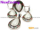 White Cat Eye Cloisonne Ring Earrings Pendant antiqued Jewelry Sets Women GIfts