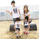 1Set Summer Family Clothing Outfits Man Woman Kids Baby T Shirt Shorts Pants TN7