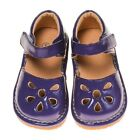 Girl's Leather Toddler Dark Purple Petal Patent Style Squeaky Shoes