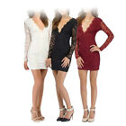 New Women Bodycon Lace Dress Long Sleeve Shirts Lady Party Cocktail Evening Gown