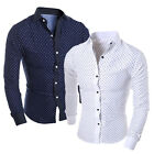 Fashion Mens Luxury Business Stylish Slim Fit Long Sleeve Casual Dress Shirt Top