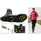 10-Teeth ICE NO SLIP SNOW SHOE SPIKES GRIPS CLEATS QUALITY CRAMPONS L/M New