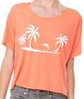 Oversized Crop Top kurzes Top mit Druck Palmen koralle orange S-L/XL handmade