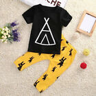 Cute Cotton Newborn Baby Kids Boys T-shirt Top + Long Pants Outfit Clothes TY