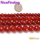 Natural Faceted Red Agate Round Stone Beads For Jewelry Making Loose Beads 15""