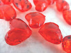 16x19mm 10pcs DARK RED FACETED ACRYLIC PLASTIC HEART BEADS SC04970