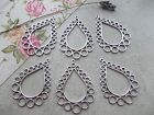 6 x Large Drop & Circle Silver Tibetan Charms,Pendant, Necklace Jewellery Making