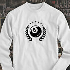 8 BALL EMBLEM BILLIARDS POOL SPORT GAME SKILL CUE Mens White Long Sleeve T-Shirt