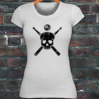 8 BALL SKULL BILLIARDS POOL GAME SPORT CUE STICKS Womens White T-Shirt $14.99 USD on eBay