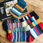 1/3/10Pairs Mens Socks Lot Cotton Blend Warm Classic Striped Casual Dress Socks