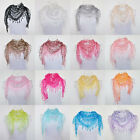 Lace Tassel Sheer Metallic Burnt-out Floral Triangle Mantilla Scarf Shawl M24