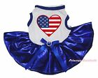 4th July USA Flag Heart White Top Bling Royal Blue Skirt Cat Pet Dog Puppy Dress