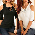 UK Fashion Womens V Neck Lace UP  Long Sleeve T-Shirt Loose Tops Casual Blouse