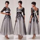 PLUS SIZE LACE 50s Long Evening Bridesmaid Formal Party Cocktail Prom Gown Dress