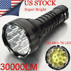 30000LM 12x XM-L T6 LED Flashlight Torch Light Lamp Waterproof 80W Super Bright