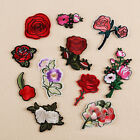 Embroidered Sew Iron on Patch Badge Rose Flower Shape Bag Dress Applique