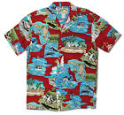 Florida Gold Coast Men's Hawaiian style vintage Aloha Shirt - Burgundy Red