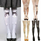 Fashion Women's Slim Fit Elastic Cat Angel Tattoo Pantyhose Stockings Tights