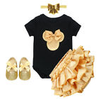 4PCS Baby Girls Newborn Romper 1st Birthday Party Outfits Headband Pants Shoes