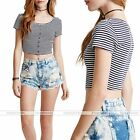 Summer Womens Striped Bare Midriff Crop Tops Short T-shirt Mini Casual Clothing