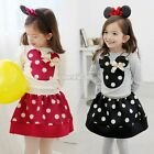 2pcs Outfit Baby Kid Girl Bow Tops Tee Shirt+Tulle Tutu Skirt Set 3-11Y Hot Sale
