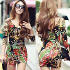 Sexy Women Long Sleeve Colorful Stretch Bodycon Party Cocktail Mini V-Neck Dress