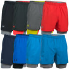 Under Armour Mens UA Qualifier 2-IN-1 Training Shorts Gym Sport Tech 33% OFF RRP
