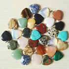 10pc Natural Crystal Gemstone Beads Heart Pendant Stone Jewelry Diy For Necklace